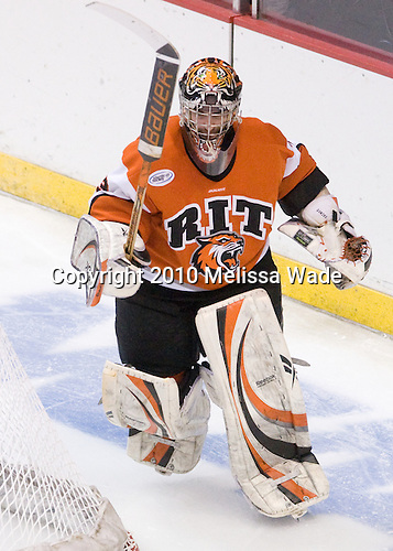 Jared DeMichiel (RIT - 33) - The Rochester Institute of Technology (RIT) Tigers defeated the Denver University Pioneers 2-1 on Friday, March 26, 2010, in their NCAA East Regional semi-final at the Times Union Center in Albany, New York.