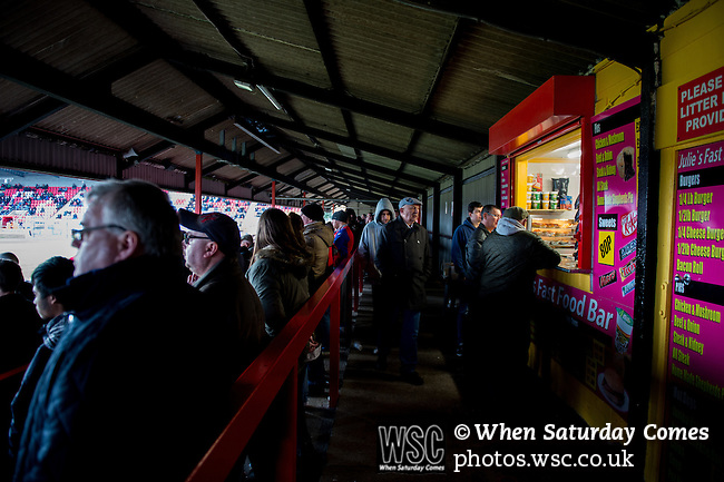 Dagenham and Redbridge 1 Burton Albion 3, 21/02/2015. Victoria Road, League Two. The tea bar on the north terrace. Burton Albion moved to the top of League Two following a hard-fought win over Dagenham & Redbridge played in-front of 1,718 supporters. Photo by Simon Gill.