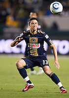Philadelphia Union midfielder Kyle Nakazawa (13) moves to the ball. The LA Galaxy defeated the Philadelphia Union 1-0 at Home Depot Center stadium in Carson, California on  April  2, 2011....