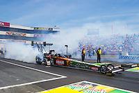 Jun 7, 2015; Englishtown, NJ, USA; NHRA top fuel driver Terry McMillen during the Summernationals at Old Bridge Township Raceway Park. Mandatory Credit: Mark J. Rebilas-