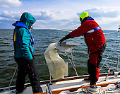 Stiv Wilson of 5 Gyres which is renowned for research on plastic pollution in the ocean's gyres and Julie Lawson, executive director of Trash Free Maryland toss the manta trawler into Chesapeake Bay. Wilson was surprised at the amount of plastic in the samples in the first two days of the expedition. If everyone started using reusables we can reduce the amount of plastic in the bay by up to 50% according to Wilson. <br /> <br /> PHOTOS/John Nelson