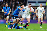 George Ford of England takes on the Italy defence. RBS Six Nations match between England and Italy on February 26, 2017 at Twickenham Stadium in London, England. Photo by: Patrick Khachfe / Onside Images