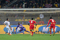 Landon Donovan of USA scores a penalty goal. Ghana defeated the USA 2-1 in overtime in the 2010 FIFA World Cup at Royal Bafokeng Stadium in Rustenburg, South Africa on June 26, 2010.