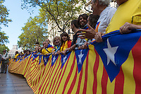 The Long Flag At  National Day of Catalonia in Barcelona