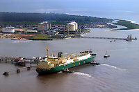 A tanker at the gas terminal, where LNG (Liquified Natural Gas) is exported.&amp;#xD;&amp;#xD;Shell operations in Niger Delta. Bonny oil terminal where oil is exported. &copy; Fredrik Naumann