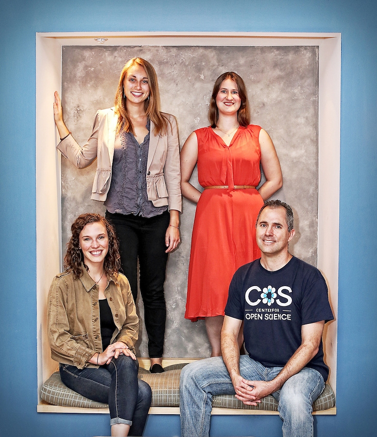 From left, project coordinators Johanna Cohoon and Mallory Kidwell, statistical consultant Courtney Soderbergh and executive director Brian Nosek make up the team who administered the Responsibility Project at the Center for Open Science located in Charlottesville, Va.  Photo/Andrew Shurtleff