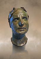 Bronze head of possibly Trebonianus Gallus, 251-253 A.D., inv 15032, Vatican Museum Rome, Italy, art background