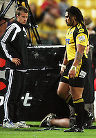 Hurricanes second five Ma'a Nonu walks to the sinbin after being yellow-carded during the Super 14 rugby match between the Hurricanes and Lions at Westpac Stadium, Wellington, New Zealand on Saturday, 27 February 2010. Photo: Dave Lintott / lintottphoto.co.nz