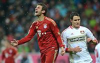 FUSSBALL   1. BUNDESLIGA  SAISON 2012/2013   9. Spieltag FC Bayern Muenchen - Bayer 04 Leverkusen    28.10.2012 Thomas Mueller (li, FC Bayern Muenchen) und Philipp Wollscheid (Bayer 04 Leverkusen)