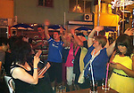 St Johnstone v Eskisehirspor....18.07.12  Uefa Cup Qualifyer.Saints fans enjoying themselves in a bar called 'The Prison' last night..Picture by Graeme Hart..Copyright Perthshire Picture Agency.Tel: 01738 623350  Mobile: 07990 594431