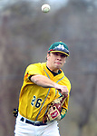 WATERBURY CT. 19 April 2017-041817SV13-#26 Mike Keating of Holy Cross makes the throw to 1st for the out in the 2nd inning against Naugatuck High during NVL baseball action in Waterbury Wednesday.<br /> Steven Valenti Republican-American