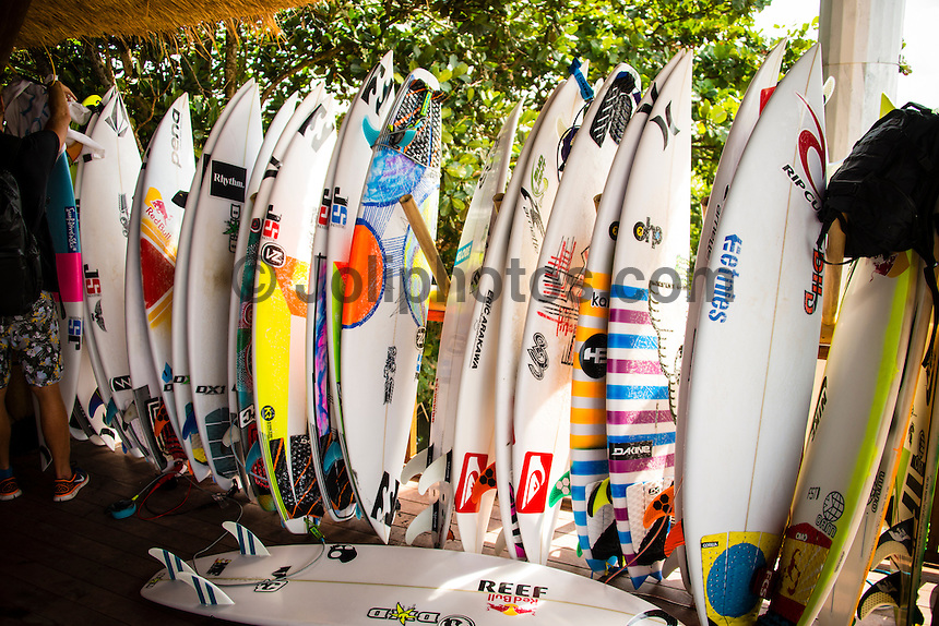 KERAMAS, Bali/Indonesia (Tuesday, June 18, 2013) - Round 1 of the Oakley Pro Bali was completed today in rippable three-to-five foot (1 - 1.5 metre) waves at the primary venue of Keramas.<br /> Event No. 5 of 10 on the 2013 ASP World Championship Tour (WCT), the Oakley Pro Bali recommences this year's hunt for the elite ASP World Title and the new venue of Keramas delivered major upsets and mammoth scores throughout the opening 12 heats of the event.<br /> Reigning ASP World Champion Joel Parkinson (AUS), 32, 11-time ASP World Champion and current ASP WCT No. 1 Kelly Slater (USA), 41, as well as perennial threat Taj Burrow (AUS), 35, were all victims of close Round 1 losses today and have been relegated to the elimination Round 2 when competition resumes.<br /> Fredrick Pataccchia (HAW), 31, took down the reigning champion this morning in a rare man-on-man Round 1 affair, with Travis Logie (ZAF), 34, unable to attend due to an injury sustained in Fiji - Logie will attempt to arrive in time for his Round 2 match.<br /> Damien Hobgood (USA), 33, current ASP WCT No. 28, caused another major upset today in eliminating fellow Floridian Slater.<br /> Yadin Nicol (HAW), 27, replacement surfer for the elite ASP Top 34, was in sensational form this morning, taking out a high-flying Round 1 bout over Taj Burrow (AUS), 35, and Kolohe Andino (USA), 19. Nicol's aerial prowess and high-velocity surfing earned him the win and put the rest of the competitive field on notice.<br /> <br /> Mick Fanning (AUS), 32, two-time ASP World Champion (2007, 2009) and current ASP WCT No. 2, took advantage of the opening day's conditions, posting a strong 14.56 out of a possible 20 to overtake Brett Simpson (USA),28, and wildcard Bruce Irons (HAW), 33. Fanning's razor-sharp surfing and incredible consistency saw the Gold Coast natural-footer navigate the afternoon onshore conditions.<br /> <br /> While a number of top seeds were relegated to the elimination Round 2, several others took advantage