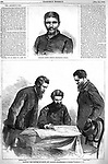 Planning the capture of Booth in Caroline County, Virginia near Bowling Green on the Rappahannock River.  Lincoln assassin Booth and other conspirators. Pinkerton Detectives and Union Officer Lt Baker (left) Col. Baker (center) Col. Conger (right). Sergeant Boston Corbett at top. Harper's Weekly, Sat May 13, 1865