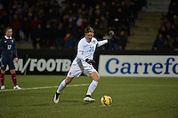 Lorient, France. - Sunday, February 8, 2015:  Abby Wambach (20) of the USWNT takes penalty kick. France defeated the USWNT 2-0 during an international friendly at the Stade du Moustoir.