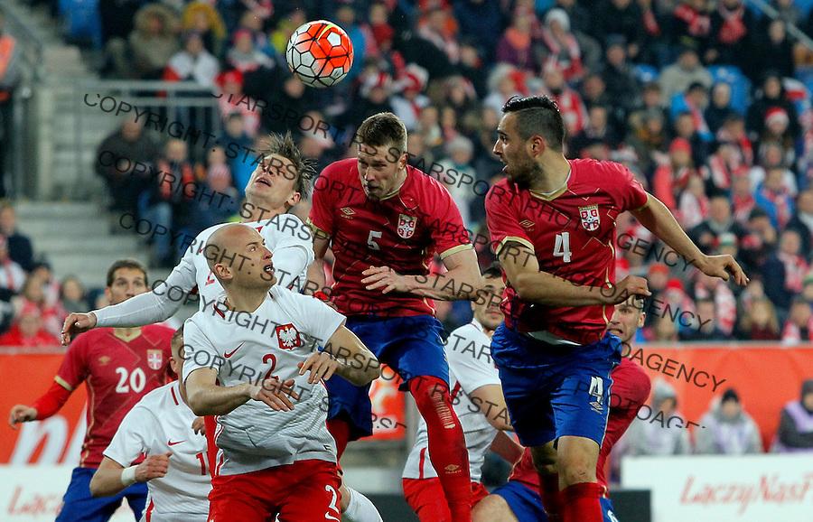 Slobodan Rajkovic Nikola Maksimovic  Poljska - Srbija prijateljska, Poland - Serbia friendly football match, March 23. 2016. Poznan  (credit image & photo: Pedja Milosavljevic / STARSPORT)