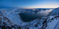 Panoramic winter view over Haukland beach from Mannen, Vestvågøy, Lofoten Islands, Norway