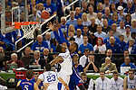 31 MAR 2012:  Terrence Jones (3) of the University of Kentucky tries to block Thomas Robinson (0) of the University of Kansas in the championship game of the 2012 NCAA Men's Division I Basketball Championship Final Four held at the Mercedes-Benz Superdome hosted by Tulane University in New Orleans, LA. Kentucky defeated Kansas 67-59 to win the national title. Brett Wilhelm/NCAA Photos