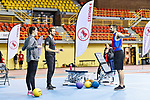 MONTREAL, QC - APRIL 29:  A participant takes part in a warmup exercise during the 2017 Montreal Paralympian Search at Complexe sportif Claude-Robillard. Photo: Minas Panagiotakis/Canadian Paralympic Committee