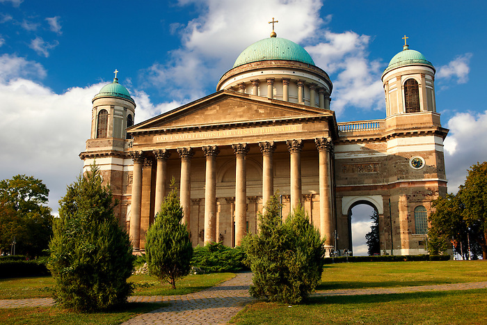 Exterior of the Neo Classical Esztergom Basilica, Cathedral ( Esztergomi Bazilika ), Hungary.