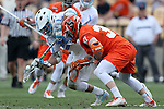 29 April 2016: North Carolina's Stephen Kelly (behind) and Syracuse's Drew Jenkins (37) chase a draw. The University of North Carolina Tar Heels played the Syracuse University Orange at Fifth Third Bank Stadium in Kennesaw, Georgia in a 2016 Atlantic Coast Conference Men's Lacrosse Tournament semifinal match.