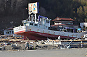 April 1st, 2011, Yamadamachi, Japan - A fishing vessel sits on the ground after being washed away by a huge tidal wave in Yamadamachi, Iwate Prefecture, on April 1, 2011, three weeks after this otherwise sleepy northeastern Japanese fishing vilalge was devastated by a magnitude 9.0 earthquake and ensuing tsunami. (Natsuki Sakai/AFLO) [3615] -mis-...
