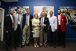 27 August 2006: From left: Sunil Gulati, president of the United States Soccer Federation and Kraft Soccer; Don Garber, commissioner of MLS; Alexi Lalas, president of the Los Angeles Galaxy and 2006 Hall of Fame inductee; Nancy and Philip Anschutz, MLS investors and (Phil) 2006 Hall of Fame inductee; Chris Henderson, New York Red Bulls player and Anschutz's Hall of Fame presenter; Marcelo Balbo, 2005 Hall of Fame inductee and television commentator during the opening of a new exhibit commemorating the first ten years of Major League Soccer. The President's Reception and Dinner were held at the National Soccer Hall of Fame in Oneonta, New York the evening before the 2006 Induction Ceremony.