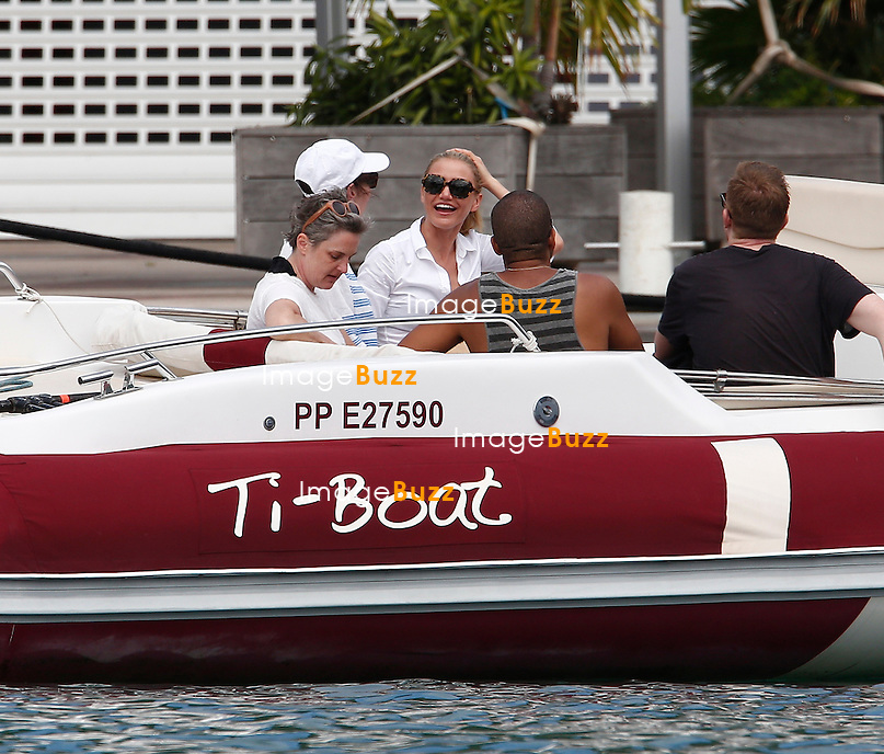 Cameron Diaz enjoys a photo shoot with Vogue aboard a boat in St Barts.<br /> January 31, 2014.