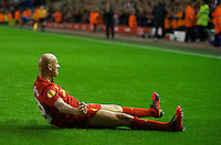 LIVERPOOL, ENGLAND - Thursday, October 4, 2012: Liverpool's Jonjo Shelvey celebrates scoring the first goal against Udinese Calcio during the UEFA Europa League Group A match at Anfield. (Pic by David Rawcliffe/Propaganda)