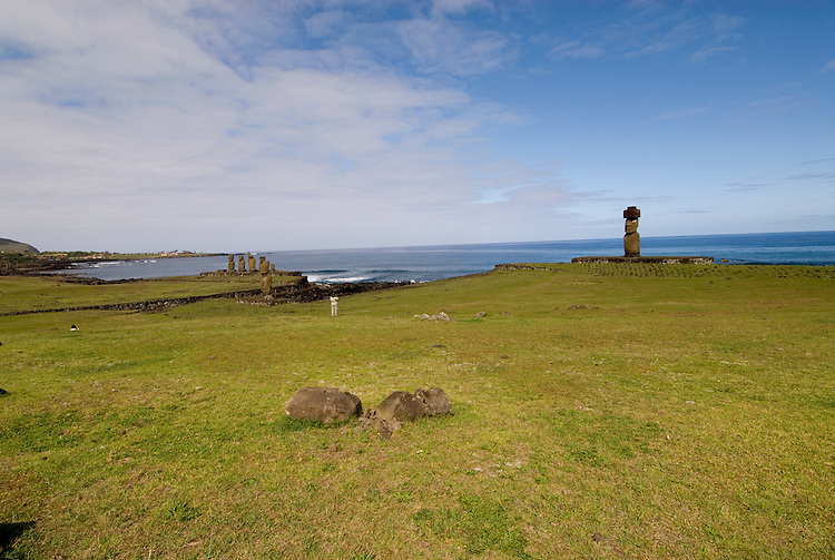 Chile, Easter Island: Wide angle view of historic village called Ahu Tahai, near Hanga Roa..Photo #: ch231-33611..Photo copyright Lee Foster www.fostertravel.com lee@fostertravel.com 510-549-2202