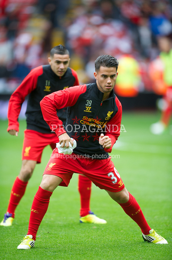 LIVERPOOL, ENGLAND - Sunday, September 23, 2012: Liverpool's 'Suso ...