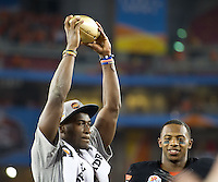 STANFORD, CA - January 2, 2012: Oklahoma State wide receiver Justin Blackmon (81) celebrates OSU's victory at the Fiesta Bowl at University of Phoenix Stadium in Phoenix, AZ. Final score Oklahoma State wins 41-38.