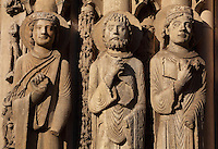 L-r; a king, Roland and Louis VII, from the left splay of the right bay of the Royal Portal, 1142-50, Western facade, Chartres cathedral, Eure-et-Loir, France. Chartres cathedral was built 1194-1250 and is a fine example of Gothic architecture. It was declared a UNESCO World Heritage Site in 1979. Picture by Manuel Cohen.