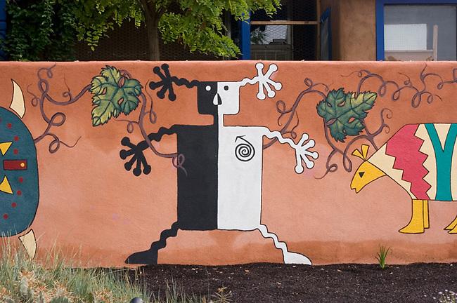 Painting on wall of New Mexico winery, Black Mesa, near Santa Fe.