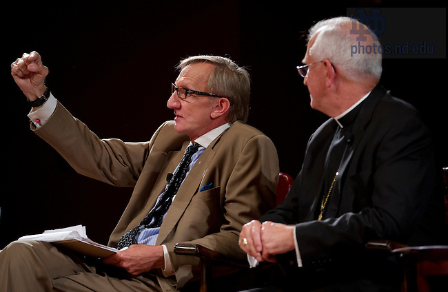Sept. 4, 2012; Panelist Rev. Richard Cizik, president of the New Evangelical Partnership for the Common Good, talks during the kick-off event for the 2012-13 Notre Dame Forum: Conviction vs. Compromise: Being a Person of Faith in a Liberal Democracy at the DeBartolo Performing Arts Center. Right, is Most Reverend Joseph E. Kurt, D.D. Photo by Barbara Johnston/University of Notre Dame