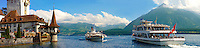 Ferries at Oberhoffen Castle Lake Thun Bernese Oberland Switzerland