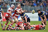 Tom Savage of Gloucester Rugby passes the ball. Aviva Premiership match, between Bath Rugby and Gloucester Rugby on April 30, 2017 at the Recreation Ground in Bath, England. Photo by: Patrick Khachfe / Onside Images
