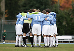 Carolina's starters huddle up before the start of the game on Sunday, November 27th, 2005 at Fetzer Field in Chapel Hill, North Carolina. The University of North Carolina Tarheels defeated the University of Virginia Cavaliers 2-1 in a NCAA Men's Soccer Tournament Round of 16 game.