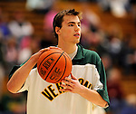 13 February 2011: University of Vermont Catamount guard Brendan Bald, a Sophomore from Millersville, MD, warms up prior to facing the Binghamton University Bearcats at Patrick Gymnasium in Burlington, Vermont. The Catamounts came from behind to defeat the Bearcats 60-51 in their America East matchup. The Cats took part in the National Pink Zone Breast Cancer Awareness Program by wearing special white jerseys with pink trim. The jerseys were auctioned off following the game with proceeds going to the Vermont Cancer Center. Mandatory Credit: Ed Wolfstein Photo