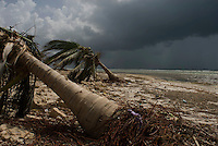 Quintana Roo, Mexico. Thursday, August 23, 2007. Damage from Hurricane Dean on the beaches of Mahahual. Mahahual was where category 5 Hurricane Dean first made landfall in Mexico, with winds of 300km/h it was where most of the damage was suffered.