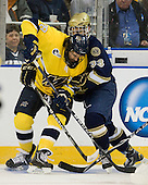 Jeff Velleca (Merrimack - 28), Joe Lavin (Notre Dame - 33) - The University of Notre Dame Fighting Irish defeated the Merrimack College Warriors 4-3 in overtime in their NCAA Northeast Regional Semi-Final on Saturday, March 26, 2011, at Verizon Wireless Arena in Manchester, New Hampshire.