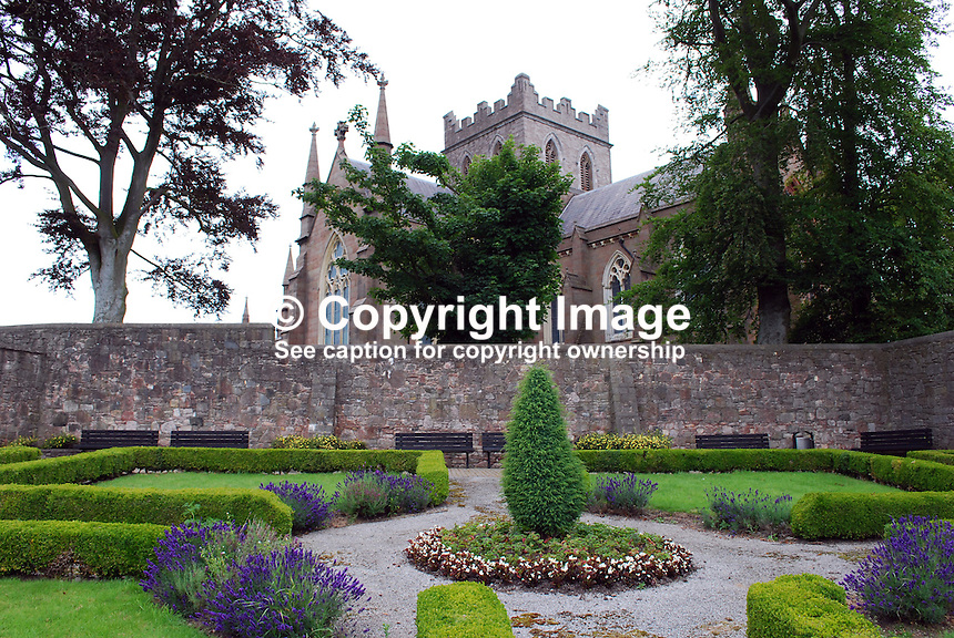 The herb garden, one of several themed gardens, in the grounds of St Patrick's Church of Ireland Cathedral, Armagh,  N Ireland, UK. 201107094712..Copyright Image from Victor Patterson, 54 Dorchester Park, Belfast, UK, BT9 6RJ..Tel: +44 28 9066 1296.Mob: +44 7802 353836.Voicemail +44 20 8816 7153.Skype: victorpattersonbelfast.Email: victorpatterson@me.com.Email: victorpatterson@ireland.com (back-up)..IMPORTANT: If you wish to use this image or any other of my images please go to www.victorpatterson.com and click on the Terms & Conditions. Then contact me by email or phone with the reference number(s) of the image(s) concerned.