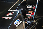 May 18, 2012; Topeka, KS, USA: NHRA funny car driver Courtney Force during qualifying for the Summer Nationals at Heartland Park Topeka. Mandatory Credit: Mark J. Rebilas-