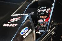 May 18, 2012; Topeka, KS, USA: NHRA funny car driver Courtney Force during qualifying for the Summer Nationals at Heartland Park Topeka. Mandatory Credit: Mark J. Rebilas-