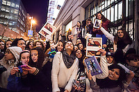 Fans waiting for Justin Bieber one day before his concert in Madrid at the Hotel Gran Melia Fenix, Madrid
