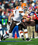 11 October 2009: Cleveland Browns' quarterback Derek Anderson makes a handoff during a game against the Buffalo Bills at Ralph Wilson Stadium in Orchard Park, New York. The Browns defeated the Bills 6-3 for Cleveland's first win of the season...Mandatory Photo Credit: Ed Wolfstein Photo