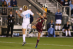 07 November 2008: Boston College's Gina DiMartino (5) and North Carolina's Ali Hawkins (76). The University of North Carolina Tarheels defeated Boston College Eagles 2-0  at WakeMed Stadium at WakeMed Soccer Park in Cary, NC in a women's ACC tournament semifinal game.