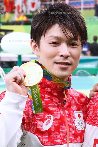Kohei Uchimura (JPN), <br /> AUGUST 8, 2016 - Artistic Gymnastics : <br /> Men's Final  <br /> Medal Ceremony  <br /> at Rio Olympic Arena <br /> during the Rio 2016 Olympic Games in Rio de Janeiro, Brazil. <br /> (Photo by Sho Tamura/AFLO SPORT)
