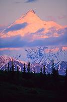Sunset on Mt Brooks, Alaska mountain range, Denali National Park, Alaska