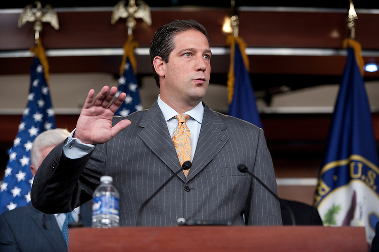 UNITED STATES - OCTOBER 4: Rep. Tim Ryan, D-Ohio, speaks during the news conference to discuss calls for the U.S. to crack down on China's manipulation of its currency on Tuesday, Oct. 4, 2011. (Photo By Bill Clark/CQ Roll Call)