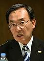 Panasonic president Kazuhiro Tsuga speaks during a news conference in Tokyo